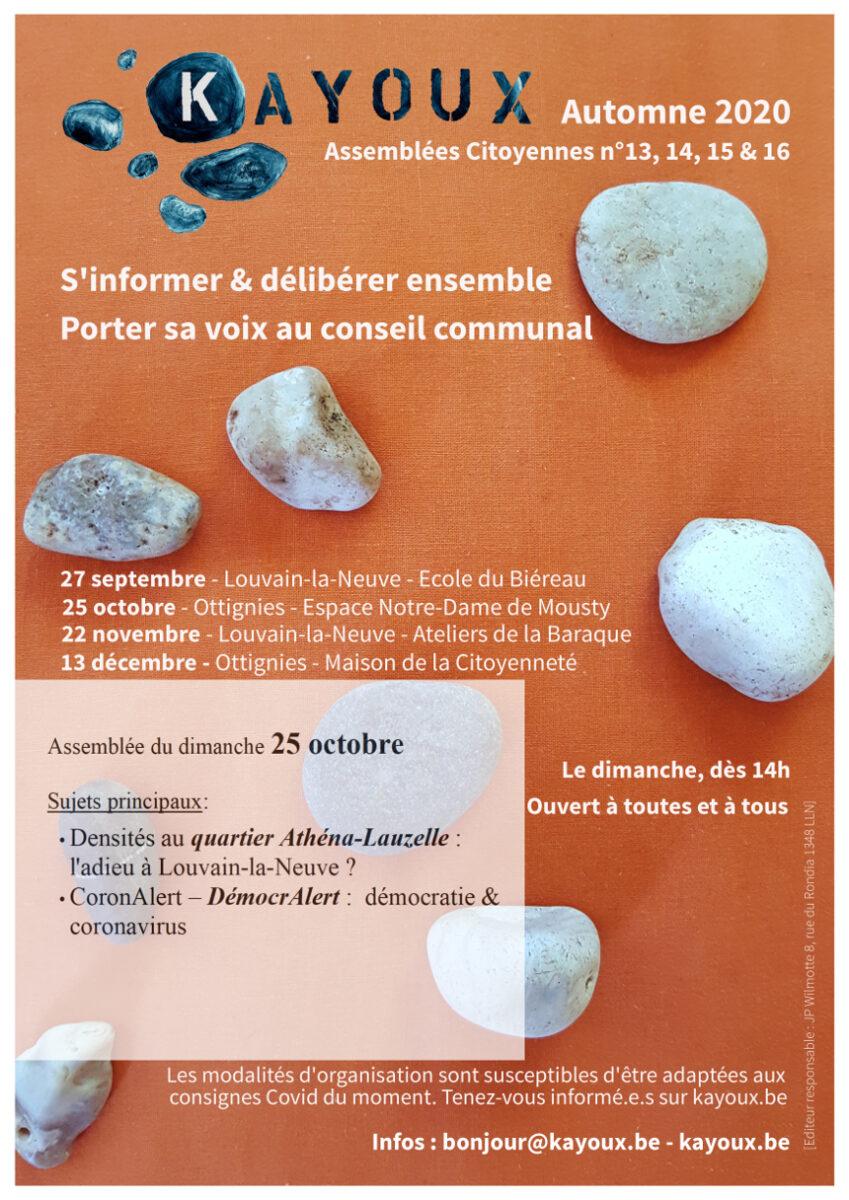 Dates des assemblées d'automne 2020 orange avec des cailloux